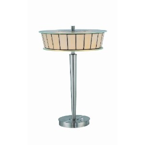 Lite Source LS-21122 Genika Table Lamp, Polished Steel with Tiffany Glass Shade by Lite Source