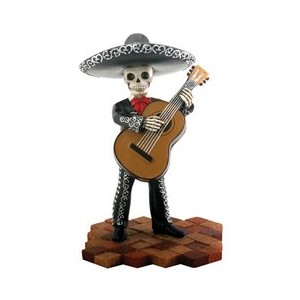 Skeleton Skull Black Mariachi Band Bassist Figurine Collectible by Summit
