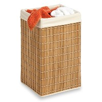 Honey-Can-Do HMP-01620 Square Wicker Hamper, Clothing Organizer, Bamboo by Honey-Can-Do