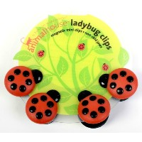 Boston Warehouse 94469 Red & Black Magnetic Ladybug Clips 4 Count by Boston Warehouse