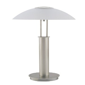 ORE International 6276 18-Inch Touch Table Lamp, Brushed Nickel with Glass Mushroom Lamp Shade by...