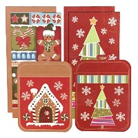 Town & Country Living クリスマス キッチン6点セット A タイプ (キッチンタオル×4 鍋敷き×2) Christmas 6Pack Kitchen Towel & Pot...