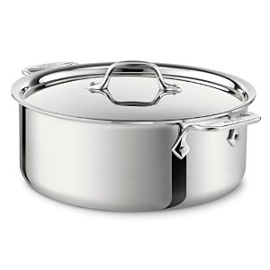 All-Clad 4506 Stainless Steel Tri-Ply Bonded Dishwasher Safe Stockpot with Lid / Cookware, 6-Quart,...