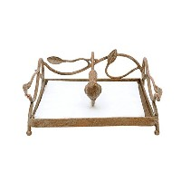 Creative Co-op Square Metal Napkin Holder with Bird, Gold by Creative Co-op