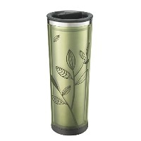 Takeya Leaf Pattern Tea/Coffee Tumbler, Black/Green, 16-Ounce by Takeya