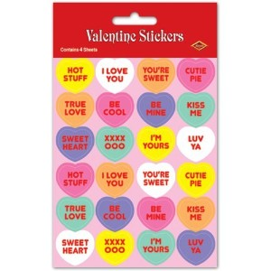 Candy Heart Valentine's Day Plus-Pak Stickers 4 Sheets Per Pack by The Beistle Company