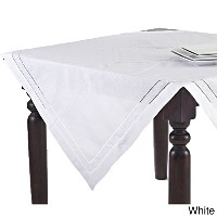 Hand Hemstitched and Embroidered Swiss Dot Tablecloth (72 Square, White) by fenncostyles.com