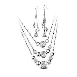 Beads Long Necklace Silver Earrings for Women