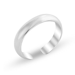 925 Sterling Silver Shiny Plain Toe Ring 3mm Band (Resizable)