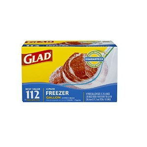 Glad Extra Wide Seal Gallon Zipper Bags Freezer 112 Bags by Glad