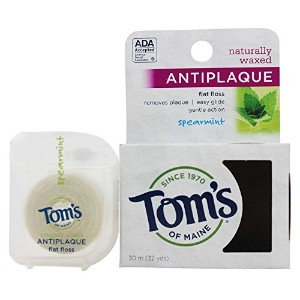 Tom's of Maine Natural Waxed Antiplaque Flat Floss, Spearmint, 32-Yards (Pack of 6) [並行輸入品]