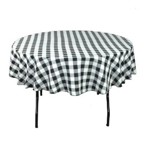 LinenTablecloth 90-Inch Round Polyester Tablecloth Red & White Checker by LinenTablecloth [並行輸入品]