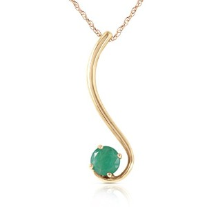 "K14 Solid Gold 18"" Necklace with Natural Emerald"