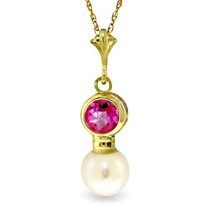 """K14 Yellow Gold 18"""" Pink Topaz Necklace with Freshwater-cultured Pearl Pendant"""