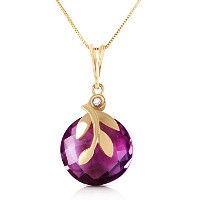 "K14 Yellow Gold 18"" Necklace with Amethyst Pendant"