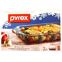 Pyrex Limited Edition 2-pc Christmas Serveware Set, 9 x 13 Baking Dish plus Wicker & Metal...