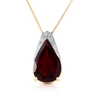 """K14 Yellow Gold 18"""" Necklace with Pear-shaped Garnet Pendant"""