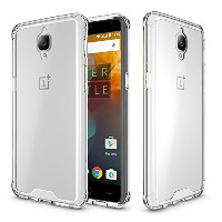 One plus 3/3T Case,SOUNDMAE Armor Transparent Clear TPU Frame Shockproof Protective Case Scratch...