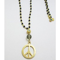 【iluck】 セレブ愛用 Bead necklace with eye and PEACE TW017 [ジュエリー]