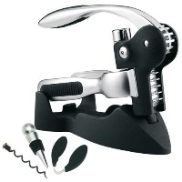Deluxe connoisseur lever arm corkscrew gift set with stopper