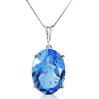 """K14 White Gold 18"""" Necklace with 8 Carats Natural Oval-shaped Blue Topaz"""