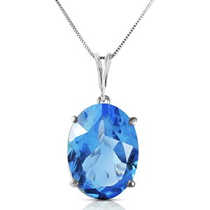 "K14 White Gold 18"" Necklace with 8 Carats Natural Oval-shaped Blue Topaz"