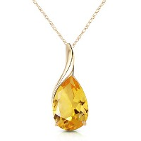 """K14 Yellow Gold 18"""" Necklace with Natural Pear-shaped Citrine"""