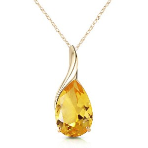 "K14 Yellow Gold 18"" Necklace with Natural Pear-shaped Citrine"