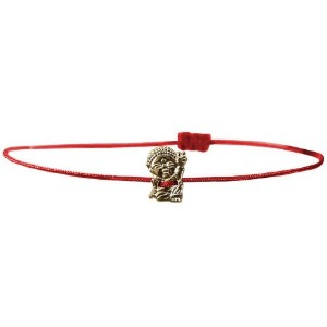 【iluck】お守りアクセCord bracelet with PEACE buddha RED(BBL03) [ジュエリー]