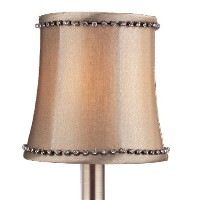 SA108 Light Grey Satin Fabric with Rhinestone Trim Accents Accessory Lamp Shade by Allegri Lighting