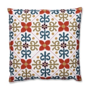 Pillow Perfect Quatrefoil Tile Embroidered Throw Pillow, 18-Inch, Orange by Pillow Perfect [並行輸入品]