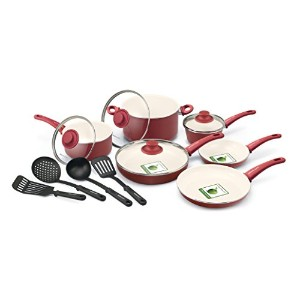 GreenLife 14 Piece Nonstick Ceramic Cookware Set with Soft Grip, Red by The Cookware Company