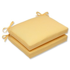Pillow Perfect Squared Corners Seat Cushion with Yellow Sunbrella Fabric, Set of 2 by Pillow...