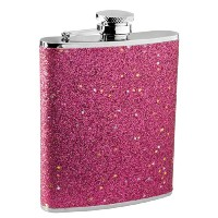 Visol Carina Glitter Liquor Flask for Women, 6-Ounce, Red by Visol