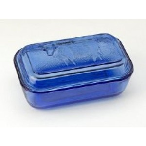 Blue Depression Style Glass Cow Butter Dish by IWGAC