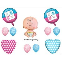 Little ManまたはLittle Miss Gender Reveal Boy GirlベビーシャワーBalloons Decorations Supplies