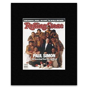 ROLLING STONE - Paul Simon & Ladysmith Black Mambazo 1987 Matted Mini Poster - 19.3x15.9cm