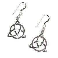 delicate Celtic Trinity Knot silver-dippedイヤリングフレンチフック