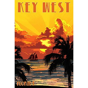 キーWest , Florida – Sunset And Ship 24 x 36 Giclee Print LANT-44527-24x36