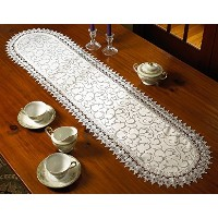 Flower Bow Embroidered Lace Vintage Design Table Runner 14 x 54 Color White by Violet Linen