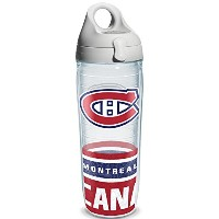 Tervis 1145516 NHL Montreal Canadiens Water Bottle with Grey Lid, Wrap, 24 oz, Clear by Tervis