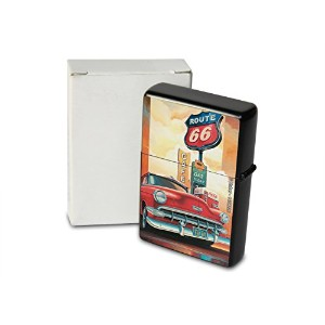 Pocket Windproof ライター Lighter Brushed Oil Refillable G. Huber Route 66 Cafe