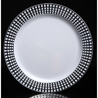 Home Value 10 Elegant Round Plastic Dinner Plates, White and Silver, 120 Count by HV