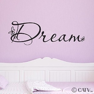 Dream (with flowers) 10 H x 32 W Vinyl Lettering Family Quote Wall Sayings Art Words Decal Sticker...