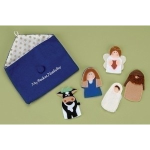 Roman Exclusive 5-piece Nativity Finger Puppets withメアリー、ジョセフ・、ベビー、Angel and a Cow and aストレージポーチ刺繍wi...