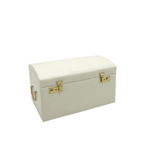 Largeレザードーム型ジュエリーボックスwith 3つTakeaway Cases XL Chest ベージュ A22636-CREAM