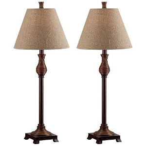 Table Lamp Set with Natural / Beige Shade in Natural Reed Finish by Kenroy Home