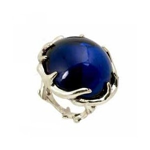 House of Harlow 1960 (ハウスオブハーロウ1960) Antler Ring with Round Cabachon Silver/Navy サイズUS8