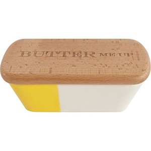 Talisman Designs Stoneware Butter Dish with Beechwood Lid, Laser Etched with Butter Me Up by...
