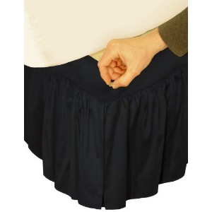 "Veratex Adjustable Bed Skirt Ruffled Faux Silk C King, Black "" Hike Up Your Skirt"" by Veratex ..."
